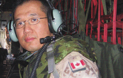 For the past 10 years, Lawson Health Research Institute's Dr. Raymond Kao (seen here in a Hercules aircraft) has applied his medical expertise, both as an attending physician in the critical care unit at London Health Sciences Centre and on the battlefield.