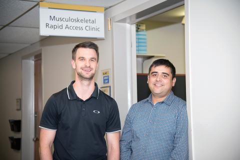 From left to right – Brent Cunning, Advanced Practice Provider and Ravi Rastogi, Advanced Practice Lead with the Low Back Pain Rapid Access Clinic at LHSC.