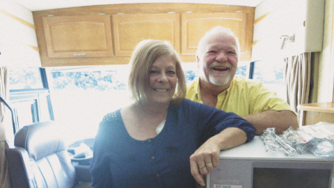 Thanks to help from the regional renal program, Debbie Worley (left) can conduct her own dialysis while vacationing in the 40-foot motorhome she shares with her husband, Ted (right).