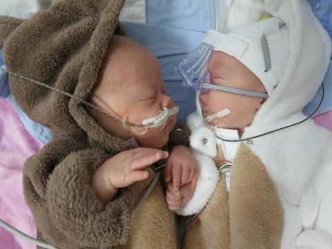 Fraternal twins Jaxson and Jacob Cartmill are pictured in the NICU at Children's Hospital