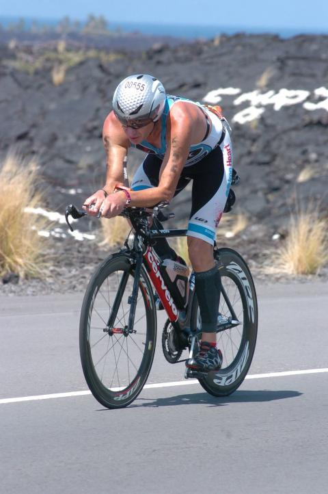 Brian Keast competing in the bike leg of the Ironman World Championships