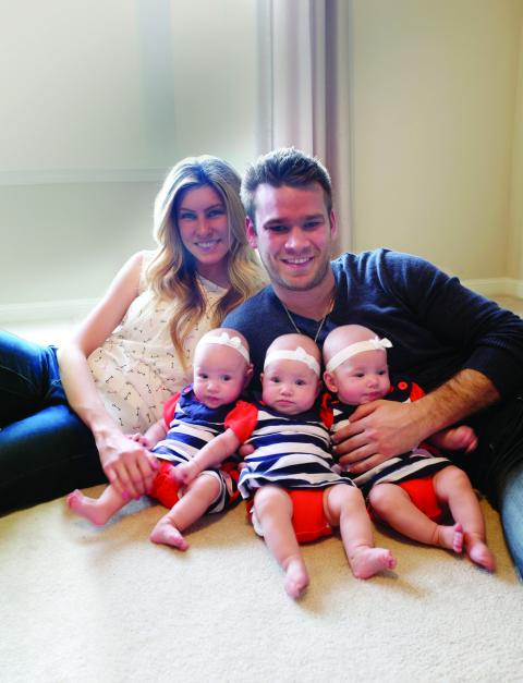 Stacey Myers, Mark Colwell and their triplet girls Londyn, Kenley and Madison